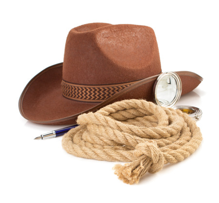 brown cowboy hat and rope isolated on white background photo