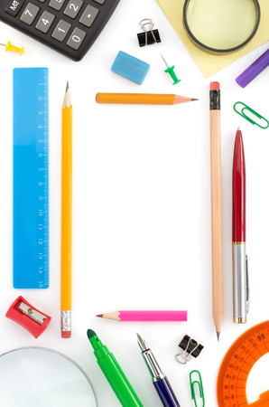 pen and paper: school supplies isolated on white background