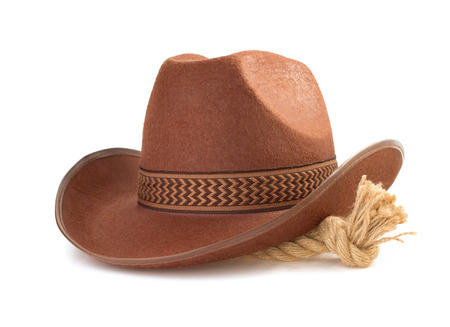 rope knot: brown cowboy hat and rope isolated on white background