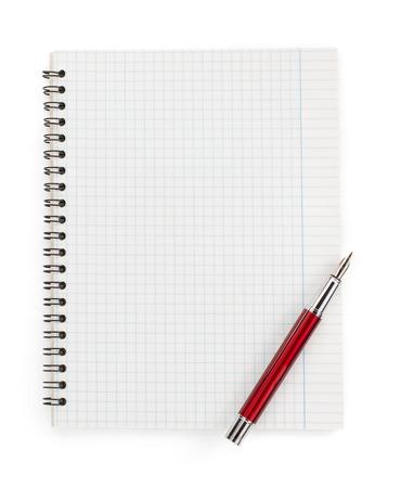 papel de notas: cuaderno controlado aislado en fondo blanco
