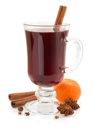 mulled wine isolated on white background photo