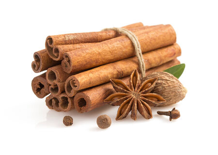 cinnamon sticks, anise star and spices on white background photo