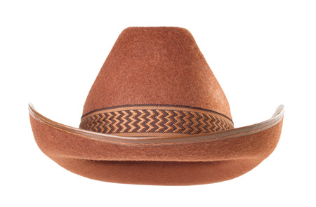brown leather hat: cowboy hat isolated on white background