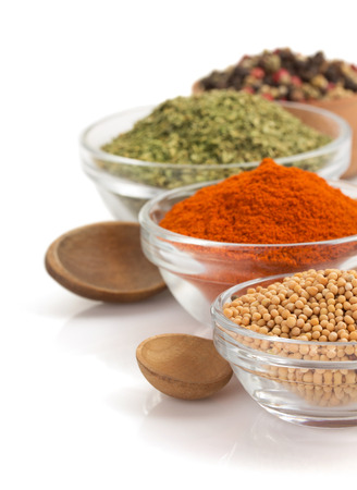 grinded: food ingredients and spices isolated on white background