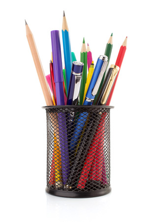 pencil holder: holder basket and pen with pencil isolated on white background