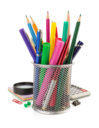 holder basket and office supplies isolated on white background photo