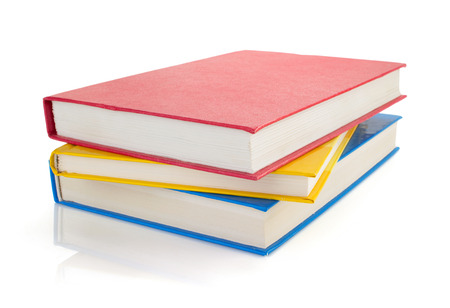 red white blue: pile of books isolated on white background Stock Photo