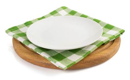 plate with napkin at cutting board  on white background