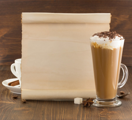 coffee concept on wooden background photo