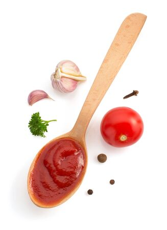 wooden spoon: tomato sauce isolated on white background Stock Photo