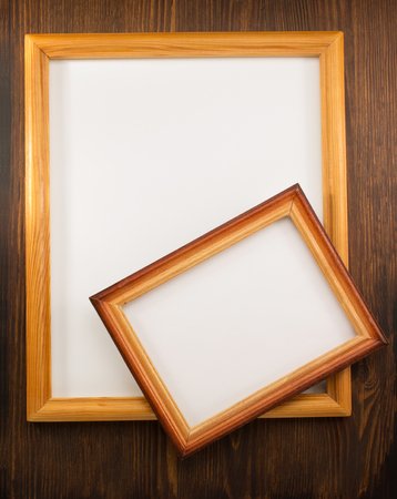 photo picture frame on wooden background photo