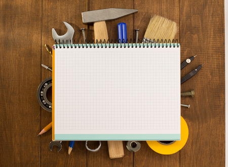building backgrounds: set of tools and instruments on wooden background