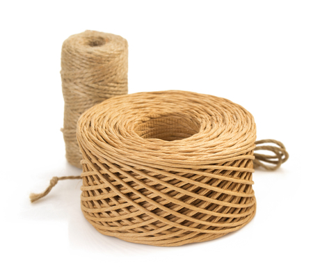 lashing: roll of twine cord and thread isolated on white background