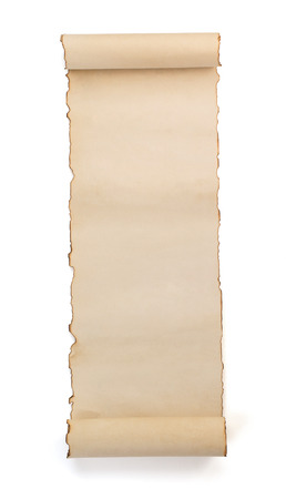 ancient scroll: parchment scroll isolated on white background Stock Photo
