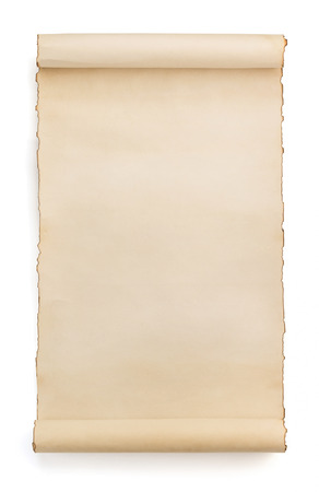vintage scroll: parchment scroll isolated on white background Stock Photo