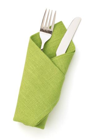 cuchillo: servilleta, tenedor y cuchillo aislados sobre fondo blanco Foto de archivo