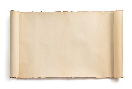 old page: parchment scroll isolated on white background Stock Photo