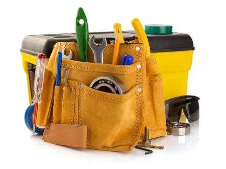 werkzeug: Werkzeuge und Instrumente in Band isoliert auf wei�em Hintergrund Lizenzfreie Bilder