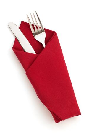 napkin: servilleta, tenedor y cuchillo aislados sobre fondo blanco Foto de archivo