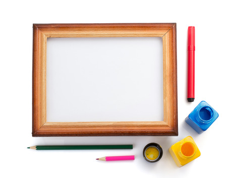 colorful frame: paint supplies and frame isolated on white background