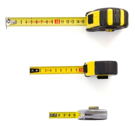 measurement tape: tape measure isolated on white background Stock Photo