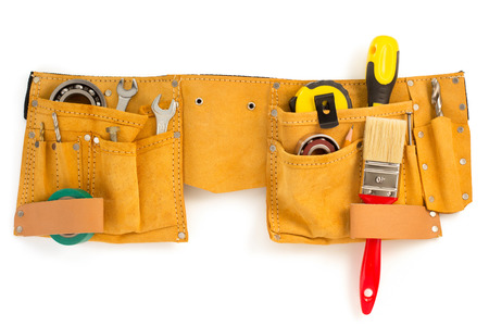 tools belt: tools and instruments in belt isolated on white background Stock Photo