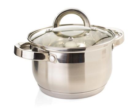 steel pan: plato de acero inoxidable aislado en fondo blanco