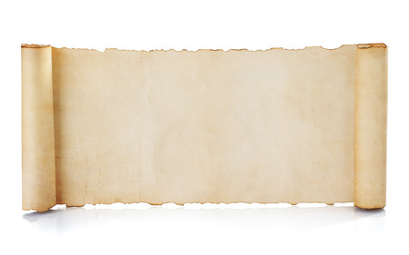 ancient papyrus: parchment scroll isolated on white background Stock Photo