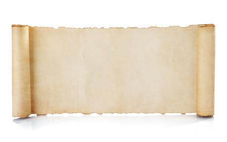 pergamino: rollo de pergamino aislado en fondo blanco Foto de archivo