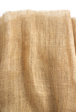 hessian: burlap hessian sacking isolated on white background