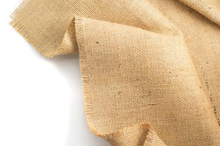 白い背景で隔離黄麻布のヘシアン解任 写真素材