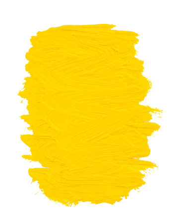 yellow paint: oil paint spot isolated on white background Stock Photo