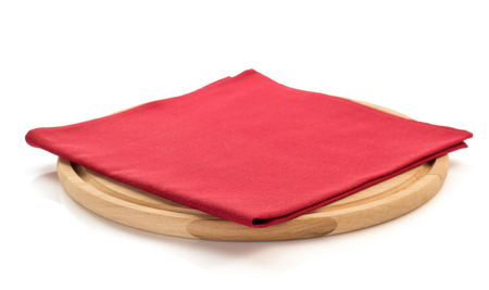 red kitchen: napkin and cutting board on white background