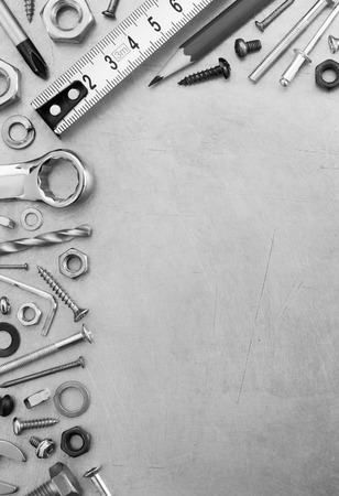 hardware: hardware tools at metal background texture