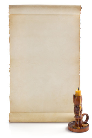scroll: parchment scroll isolated on white background Stock Photo