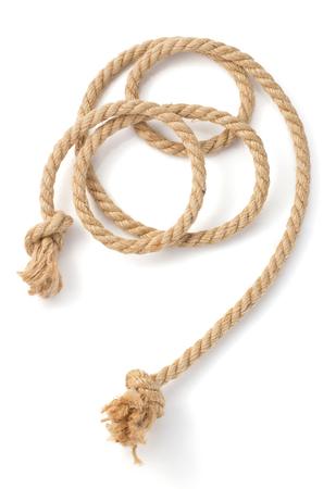 白い背景で隔離船ロープ