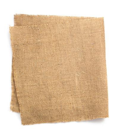 burlap hessian sacking isolated on white background