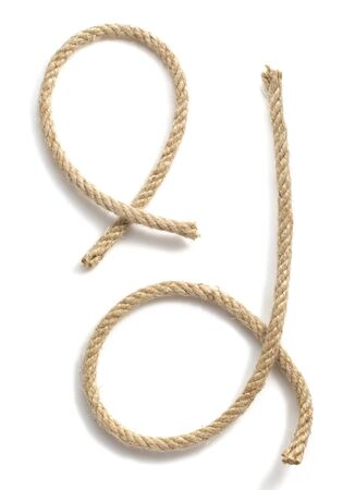 rope border: ship rope isolated on white background Stock Photo