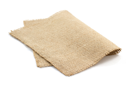 �napkin: arpillera arpillera sacking aislado en fondo blanco