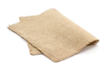 white napkin: burlap hessian sacking isolated on white background