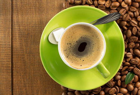 cup of  coffee on wooden background Imagens