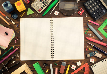 back to school supplies: school supplies on wooden background Stock Photo
