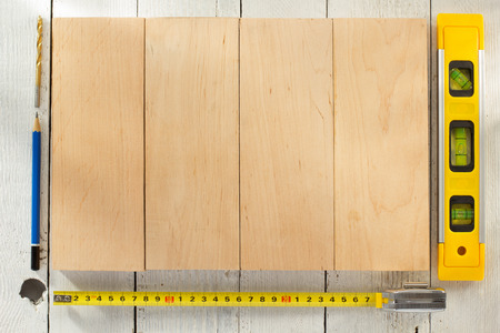 drill floor: tools and instruments on wooden background Stock Photo