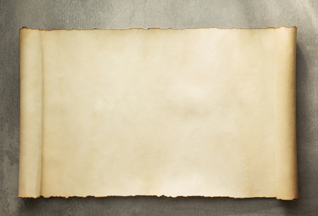vintage scroll: parchment scroll on old background