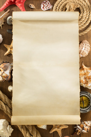 seashell: old paper and seashell on wooden background texture