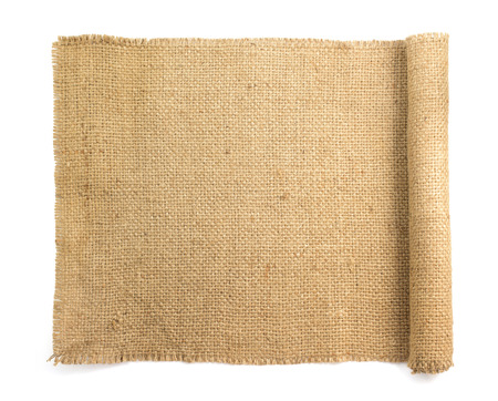 burlap hessian sacking isolated on white background