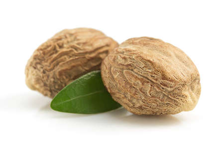 nutmeg isolated on white background Stock Photo