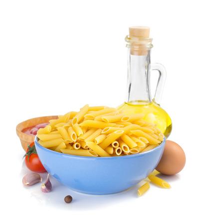 plato del buen comer: pasta penne isolated on white background
