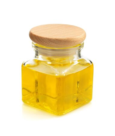 food oil in bottle isolated on white background