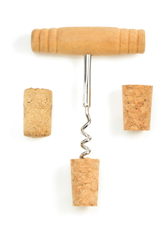 bar tool set: corkscrew and wine cork isolated on white background